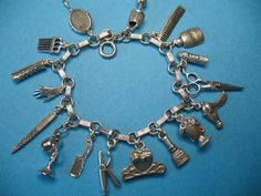 Beauty Salon Themed Vintage Silver Charm Bracelet- 7,5 long -  RUBYLANE  i have to own one of these! how cute....