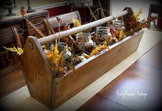 Wooden tool box. I have a couple of these that my grandfather built, now I have some ideas of how to put them to use!