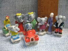 BABAR the Elephant Jean de Brunhoff 8pcs - French Feve Feves Porcelain Figurines King Cake Baby Doll House Charm Mini Figures