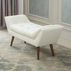 Mercer41 Stine Upholstered Entryway Bench Color: White