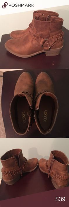 XOXO Tan booties with brass detailing-like new Worn twice, gently used. These are comfy, I just have another pair that are similar and need rid of these. Worn three times only. No flaws. XOXO Shoes Ankle Boots & Booties