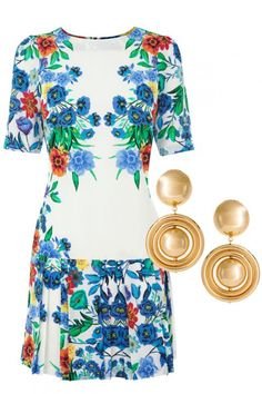 WEDDING GUEST OUTFITS  Warehouse's floral print dress makes such a statement that it needs little in the way of accessories.