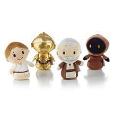 Star Wars™ fans won't want to miss out on this collector set complete with Luke Skywalker™, C-3PO™, Obi-Wan Kenobi™ and Jawa™ in an exclusive collectible box. Hallmark's itty bittys® plush are so fun to collect that you'll want to own each and every one of these perfectly-sized companions.