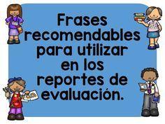 Frases recomendables en los reportes de evaluación ~ Educación Preescolar