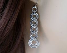 Byzantine Ripple Chain Maille Earrings with by WolfstoneJewelry