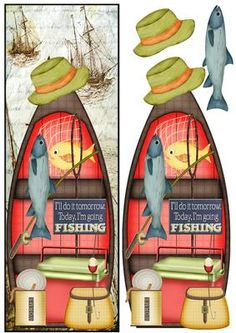 Large DL Male Card Fishing on Craftsuprint designed by Marijke Kok - Great male card with a lot of detail - Now available for download!