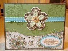 Triple Treat Flower, Spice Cake dsp, Adorning Accents edgelit & folder - Catherine Loves Stamps