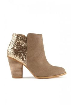 Suede and sequin booties