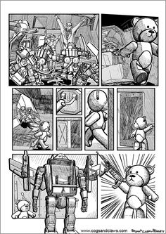 Cs&Cs wordless webcomic page 2000ad, Rocket Raccoon, Teddybear, Cogs, Tmnt, Gundam, Starwars, Transformers, Comic Books
