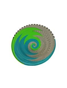 Basket woven from Telephone-Wire in Green, Blue, White and Black Colours