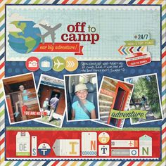 "#papercraft #scrapbook #layout. Colorful ""Off To Camp"" Scrapbooking Layout...Liz Qualman Designs."