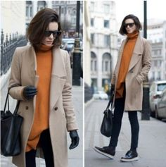 orange sweater with jacket, Coats and vests styling ideas http://www.justtrendygirls.com/coats-and-vests-styling-ideas/