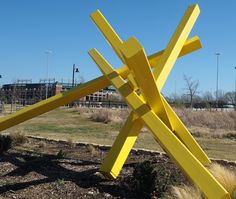 """This piece on the Sculpture Trail (Richard Green Linear Park along the east side of Johnson Creek) is titled """"Influx"""" by artist Scott Shubin.  Park on Randol Mill to visit the park, but take note: Avoid game or event days for the Cowboys or Rangers."""