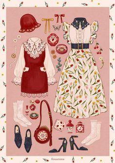 Vintage Fashion Sketches, Fashion Design Drawings, Kleidung Design, Estilo Lolita, Mode Kpop, Motif Vintage, Look Girl, Illustration Mode, Anime Dress