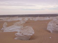 Mushroom rock formations at the White Desert near Farafra, Egypt