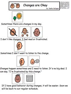 Changes are Okay - Visual Story for Kids. @Pediatric Therapy Center-for all of our pins, please visit our page at pinterest.com/pedthercenter/