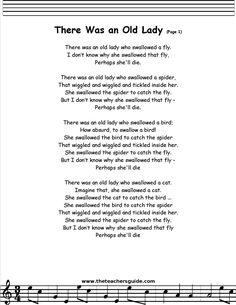 There Was an Old Lady lyrics printout Preschool Poems, Kindergarten Songs, Kids Poems, Camp Songs, Fun Songs, Songs To Sing, Nursery Rhymes Lyrics, Nursery Rhymes Songs, Songs For Toddlers