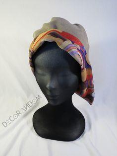 cappello di velluto a coste,beige,fodera colorata fantasia vintage,cappellino beige, con risvolto colorato,cappellino primavera  c11 di decorandom su Etsy