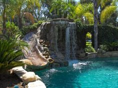 Pool with waterfall..