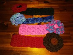 Crocheted headbands with crocheted flowers