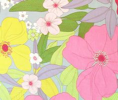 Paola Grey Floral Cotton Fabric by Alexander Henry