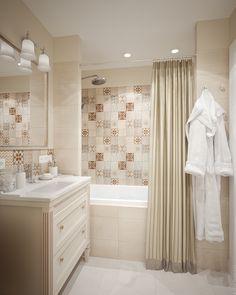 Интерьер ванной комнаты. Бежевая цветовая гамма.