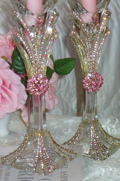 Beautiful Bejeweled Crystal Candlesticks Set 2 Pink Shimmer By Del Rosario-Antique, Perfume, Weiss, Rhinestones, Glass, Crystal, Victorian,candle holder, candlestick, pink,