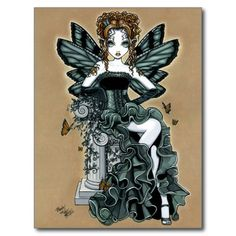 Gothic Couture Butterfly Fairy Art Signed PRINT Phoebe in Art, Direct from the Artist, Other Tiger Lily Tattoos, Fairy Pictures, Gothic Fairy, Butterfly Fairy, Fairy Art, Faeries, Creations, Art Prints, Fantasy Dolls