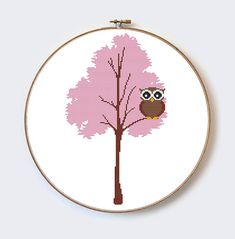 Owl Tree Branch modern cross stitch pattern by MilaliParade