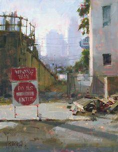 """""""Under Construction"""" Oil, 14 x 11"""" — by Jennifer McChristian."""
