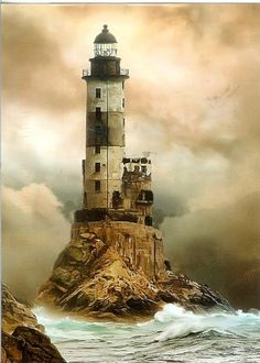 Aniva Lighthouse  -  Sakhalin Island, Russia  -  built 1939 by the Japanese  -  on a small islet off the point of the cape of the what is now Russia's largest island which lies just off its east coast  & separates the Sea of Japan from the Sea of Okhotsk