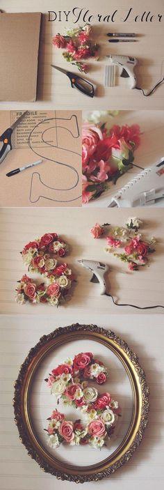 DIY Floral Letter - 35 creative DIY letters in life ♥ ♥ . - nature - fashion - travel passion - craft - DIY Floral Letter – 35 creative DIY letters in life ♥ ♥ – - Flower Letters, Diy Letters, Flower Wall, Life Flower, Dahlia Flower, Mur Diy, Diys, Diy Wand, Deco Floral