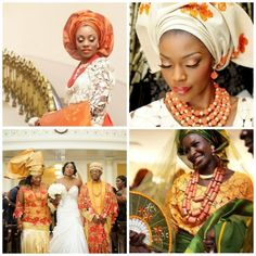 African Weddings | Traditional Engagements | Aso Oke | Aso Ebi | Bride | Orange Colour Inspiration