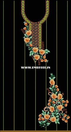 Diy Embroidery Kit, Embroidery On Kurtis, Kurti Embroidery Design, Embroidery Neck Designs, Embroidery Works, Embroidery Motifs, Indian Embroidery, Embroidery Designs Free Download, Jewelry Design Drawing