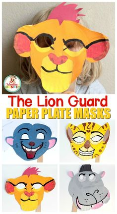 These adorable DIY The Lion Guard paper plate masks are the perfect way to play along with The Lion Guard! It's the perfect preschool craft!