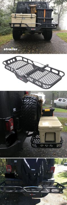 """Tired of throwing gear on the roof rack struggling to get it down and worrying about clearance issues or being top heavy? (every Jeepers off-roading nightmare). You need a rack with low center of gravity, that won't affect ground clearance and most importantly fits your 35"""" spare. Rola hitch rack is the answer!"""