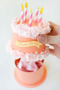 Paper Birthday Cake shaped box tutorial