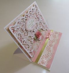 Fancy Fold Cards, Folded Cards, Paper Art, Paper Crafts, Crafters Companion Cards, Cut Image, Photo Album Scrapbooking, Easel Cards, Die Cut Cards