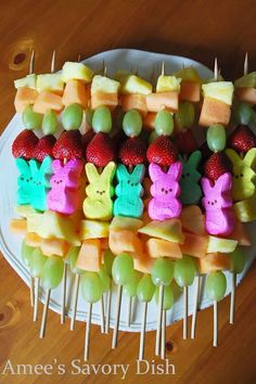 Peep Fruit Kabobs: A semi-healthy and fun alternative to all that Easter candy, these colorful kabobs are a great appetizer for kids. #eastercraftsforkids