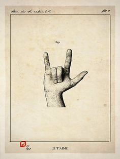 vintage sign language. Having deaf parents, I feel like I need this in my house now.