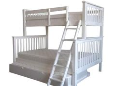 Bunk Bed Twin over Full Mission White with Full Trundle