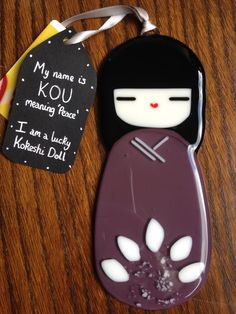 Kou Glass Kokeshi Doll Japanese Inspired Handmade Collectable
