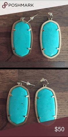 "Kendra Scott Turquoise Danielle Earrings Turquoise and Gold Kendra Scott earrings in the ""Danielle"" Style. Comes with earring backs. Kendra Scott Jewelry Earrings"