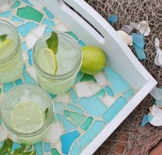 Colorful DIY sea glass tray