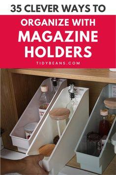 Magazine Organization, Magazine Storage, Kitchen Organization Pantry, Home Organisation, Office Organization, Kitchen Storage, Diy Storage, Storage Ideas, Storage Room