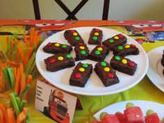 Cars Party food - Mack's traffic light brownies