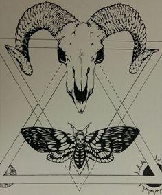 Ram Skull + Death's Head Moth