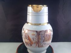 P. L. & Co. Czechoslovakia Ceramic Pitcher Gold Rim Gold Accents 9 Inch