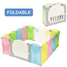 Costzon Baby Playpen Foldable Kids Safety Activity Center Playard w/Walk-Through Locking Gate Non-Slip Rubber Mats Adjustable Shape Portable Design for Indoor Outdoor Use (Multicolor) Child Fence, Baby Play Yard, Baby Playpen, Baby Gates, Rubber Mat, Baby Learning, Activity Centers, Infant Activities, Child Safety