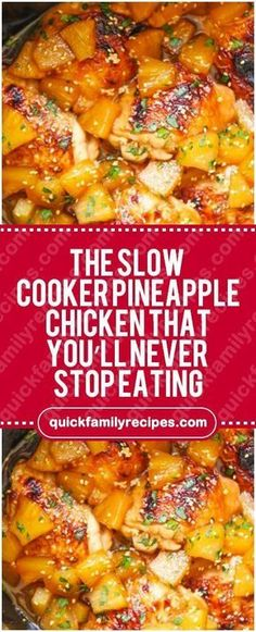 Slow Cooker Pineapple Chicken That You'll Never Stop Eating – Quick Fami. The Slow Cooker Pineapple Chicken That You'll Never Stop Eating – Quick Fami. The Slow Cooker Pineapple Chicken That You'll Never Stop Eating – Quick Fami. Slow Cooked Meals, Crock Pot Slow Cooker, Crock Pot Cooking, Cooking Recipes, Healthy Recipes, Slow Cooked Chicken, Slow Cook Chicken Recipes, Slow Cooker Dinners, Slow Cooker Chicken Healthy
